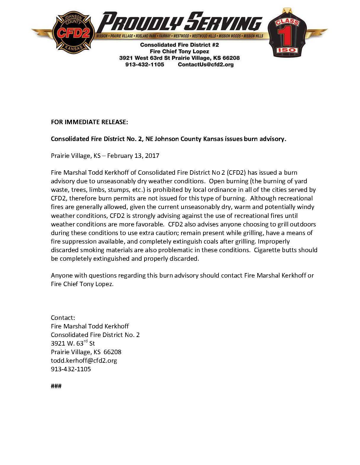 Kansas johnson county prairie village - Cfd2 Issues Burn Advisory Johnson County Consolidated Fire District 2 Nextdoor