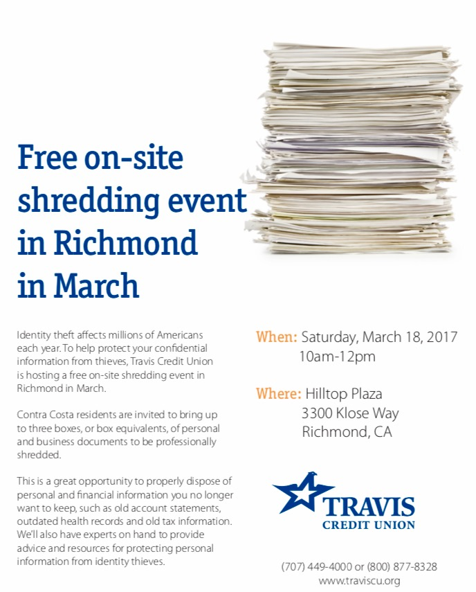Free shredding event id theft tips richmond police for Document shredding richmond va