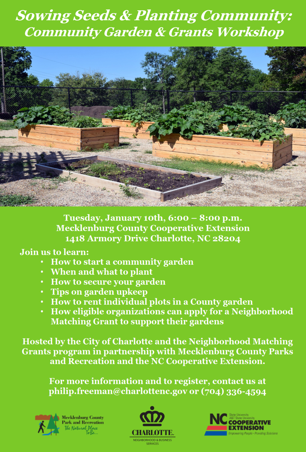 Community Garden Grants Workshop Tuesday January 10th