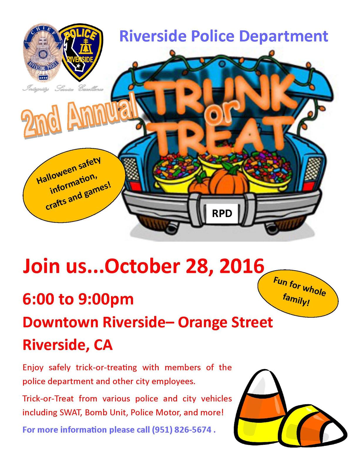 Riverside Police Welcomes Kids To 2nd Annual Trunk Or
